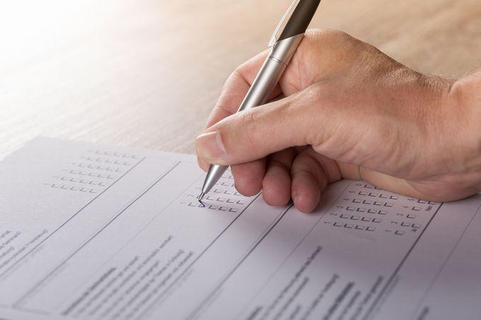 試験の解答用紙